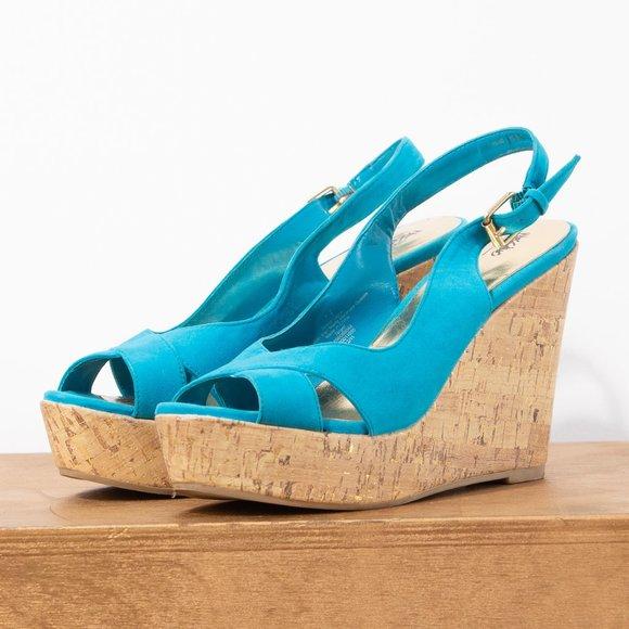 Turquoise Wedge With Peep Toe